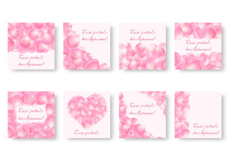 Set of backgrounds with soaring rose petals and place for text for romantic congratulations.