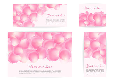 Collection of banners in a romantic style with pink petals falling on a light background. Illustration