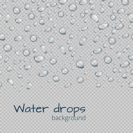 A seamless border of translucent water droplets on a transparent background. Illustration