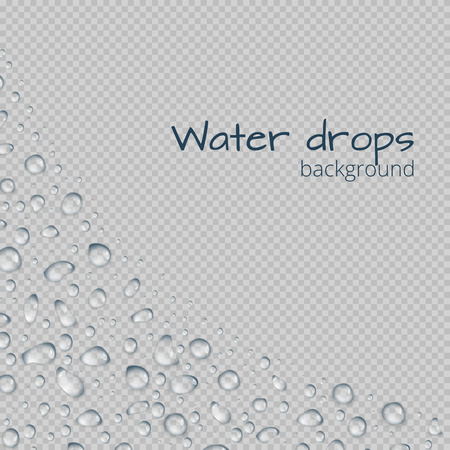 Background with a border of raindrops on a transparent background and space for text. Vector illustration with drops of water.