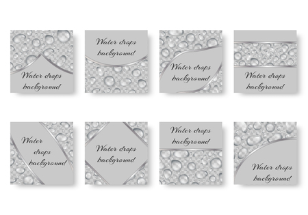 Collection of square backgrounds with translucent dew. Festive backdrop with drops of water and place for text. Illustration
