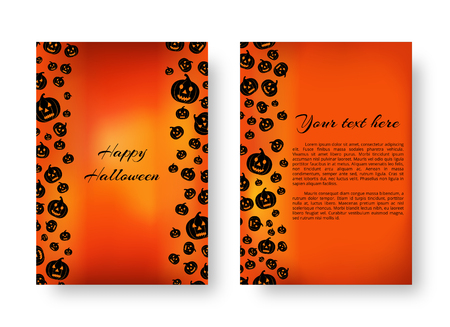 Invitation template for a party with soaring black pumpkin silhouettes for festive halloween decoration Illustration