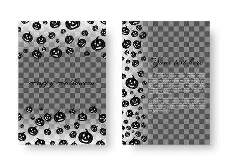 Halloween invitation template with flying black pumpkins for festive decoration Illustration