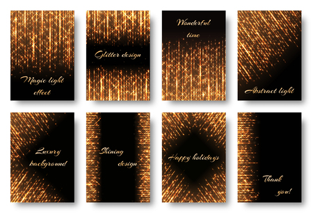 a4 borders: A set of bright cards with golden rays on a black backdrop. Brilliant light effect for festive decoration in vector format.