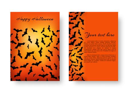 Scary cover design of brochure with bats for festive Halloween design on the orange backdrop. Vector illustration. Illustration