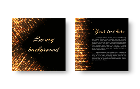 Greeting card with bright golden light effects and sparkles on a dark backdrop. Illustration