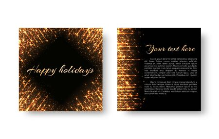 New Year card design background with golden shiny rays on black backdrop.