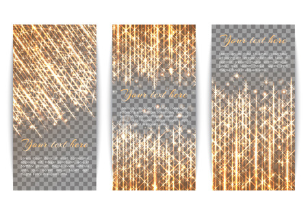 Set of holiday banners with winter lights and golden rays Illustration