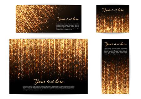 明るいライトと黄金色の光で新しい年の装飾のためのバナーのセットです。