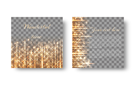 Christmas background with bright particles, golden rays and light lights for a festive design on a transparent backdrop.