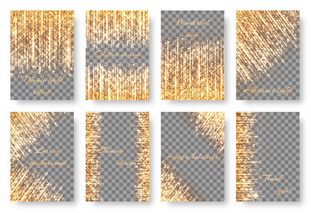 A set of bright shiny sparkles for the design of greeting cards invitations. Illustration