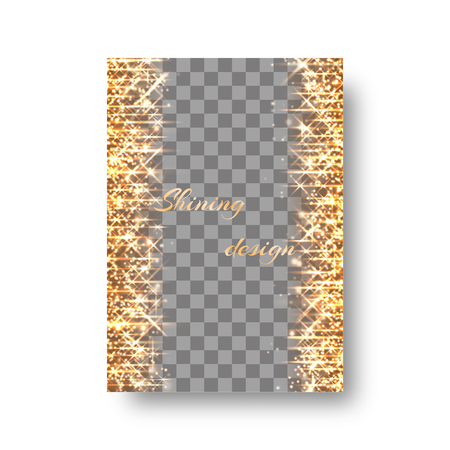 glitzy: New Year invitation template with light flashes, flying sparkles and golden stars