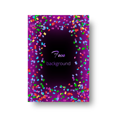 Cover of a Christmas leaflet with multi-colored flying confetti on a purple backdrop