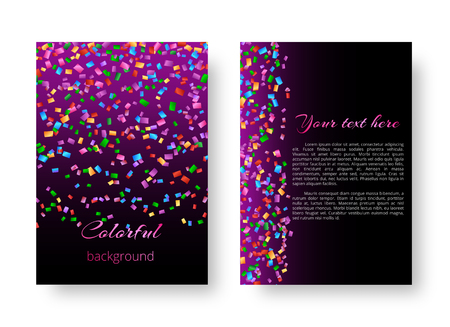 Template background with bright colored confetti for greeting card.