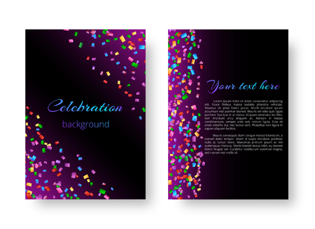 Pattern design brochure with colorful paper confetti falling on a violet background