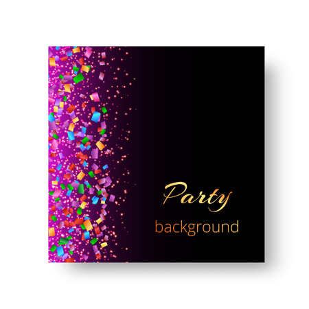New Year background with bright confetti particles on purple backdrop for celebrity flyers.