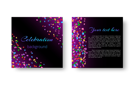 New Year invitation card with shiny bright particles of confetti falling on the lilac backdrop