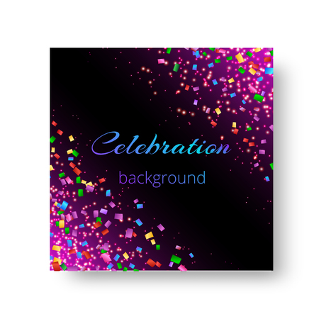 Festive template for greeting card with bright flying confetti on lilac backdrop