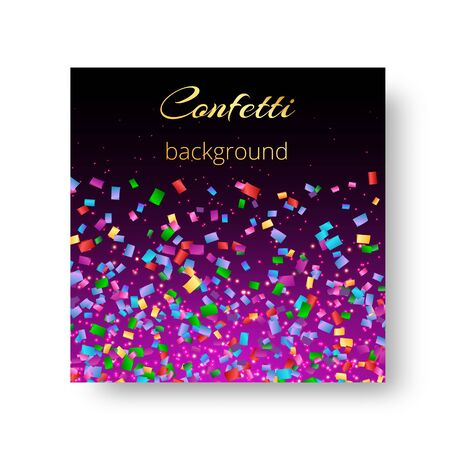 Bright template for greeting card with flying colored confetti Illustration