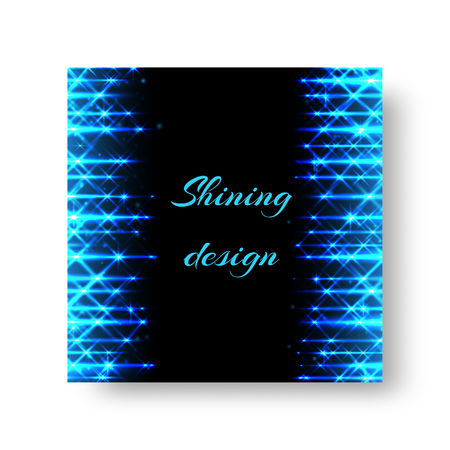 Square invitation card template for a party with bright blue neon rays.