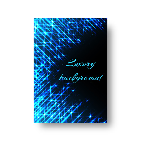 Rectangular design of a New Year greeting card with bright blue beams of neon light on a black background Illustration