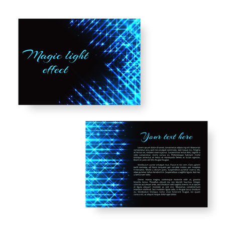 Festive brochure template with bright neon lights for Christmas greetings