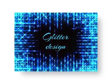 Festive cover of leaflets with rays of blue light on a black background for Christmas decoration Illustration
