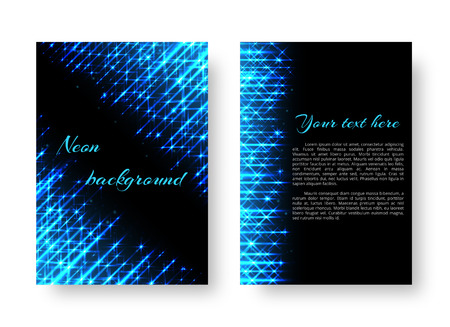 Rectangular pattern of leaflet with bright neon stripes on a black background
