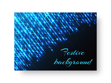 Festive design of a New Year greeting card with bright blue beams of neon light on a black background