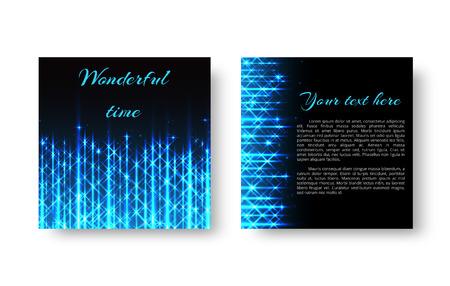 Un modello quadrato della cartolina d'auguri con una luce al neon blu su un'illustrazione nera.