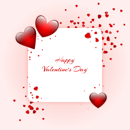 Bright background with red hearts for congratulations on Valentines day, mothers day or birthday. Vector illustration