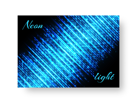 Festive background of brochure with blue neon lights for Christmas design