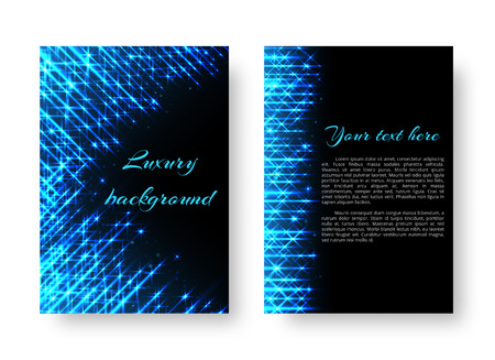 Rectangular brochure template with bright neon lights for Christmas greetings. Illustration