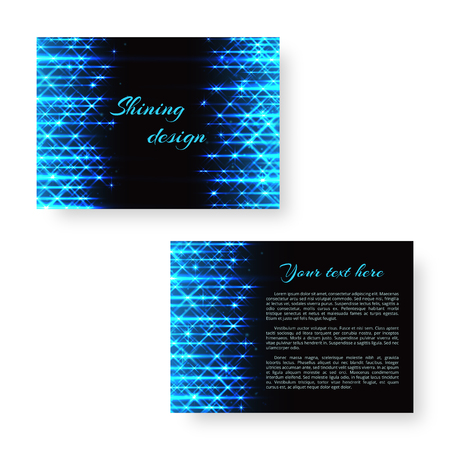 Festive design template for postcard with bright neon stripes of blue light for New Years decoration.