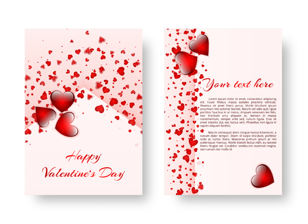 Template of a brochure in a romantic style for Valentines Day or birthday greetings. Vector illustration Çizim