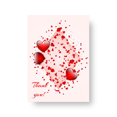 Valentines Day love beautiful background with scarlet falling hearts. Vector illustration