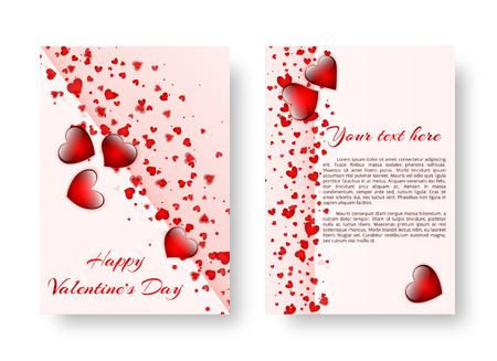 Template of a design of a card with falling red hearts for design of congratulations on Valentines day, mothers day or birthday. Vector illustration Ilustração