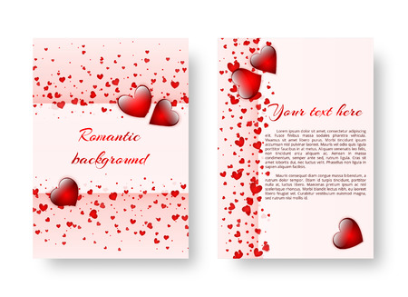 Cover design for a brochure with red hearts for congratulations on the day of the holy valentine, mothers day or birthday. Vector illustration Illustration