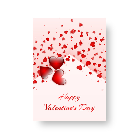 St. Valentines Day card with love background and falling red hearts. Vector illustration