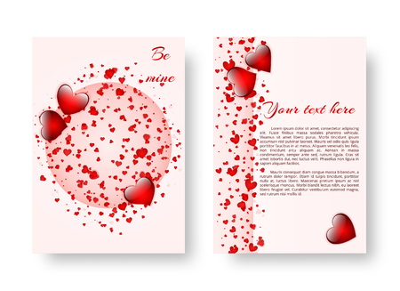 The design of the cover of the catalog with bright red hearts for a romantic design for St. Valentines Day. Vector illustration Çizim