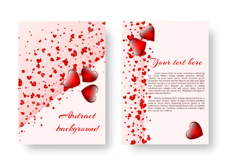 Background greeting card with falling confetti in the shape of heart for design on valentines day, birthday or mothers day. Vector illustration Çizim