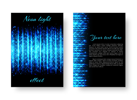 Rectangular pattern of Christmas background with bright blue neon lines for festive decoration