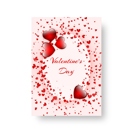 Heart background greeting card template for valentines day. Vector illustration