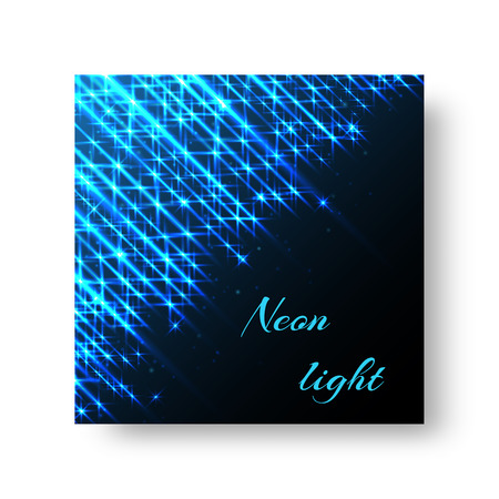 The square cover of the leaflet with the rays of blue light on a black background for the Christmas decoration