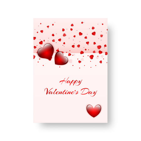 Design of a greeting card for St. Valentines Day, mothers day or birthday with bright confetti in the shape of a heart. Vector illustration
