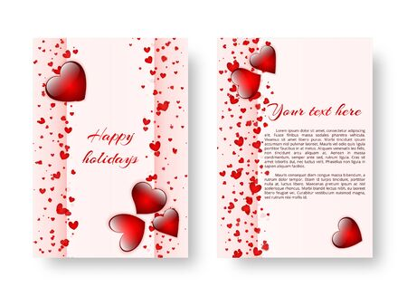 Romance background with bright red hearts for congratulations on Valentines day, mothers day or birthday. Vector illustration