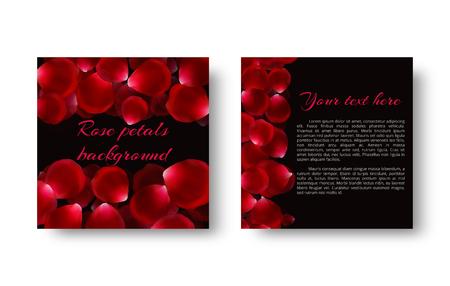 Greeting card with flying rose petals on a black backdrop for a romantic design. Ilustração