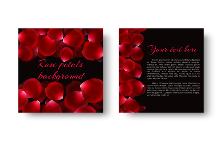Greeting card with flying rose petals on a black backdrop for a romantic design. Illustration