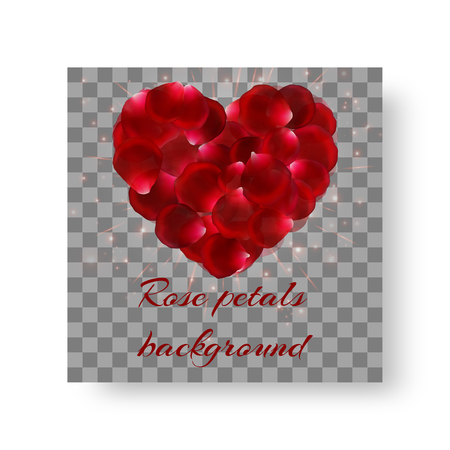Cover of leaflets for romantic decoration with lovely red rose petals