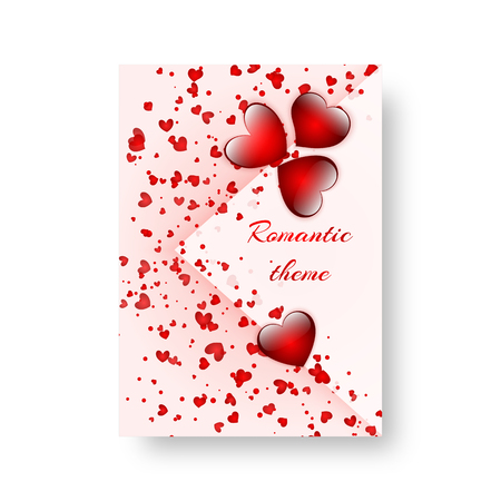 Birthday Invitation Template with bright falling red hearts. Vector illustration